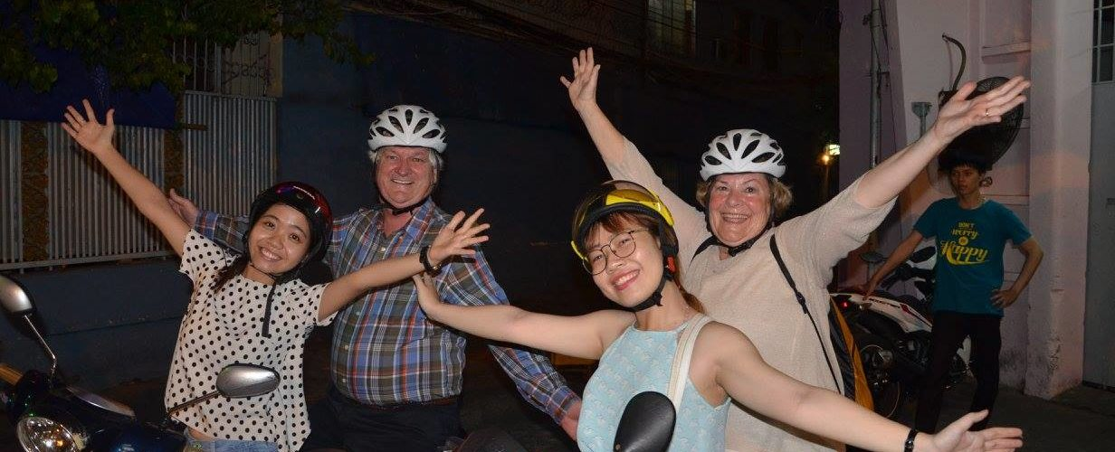 Customers are extremely excited with our happy local guide on Saigon scooter tour