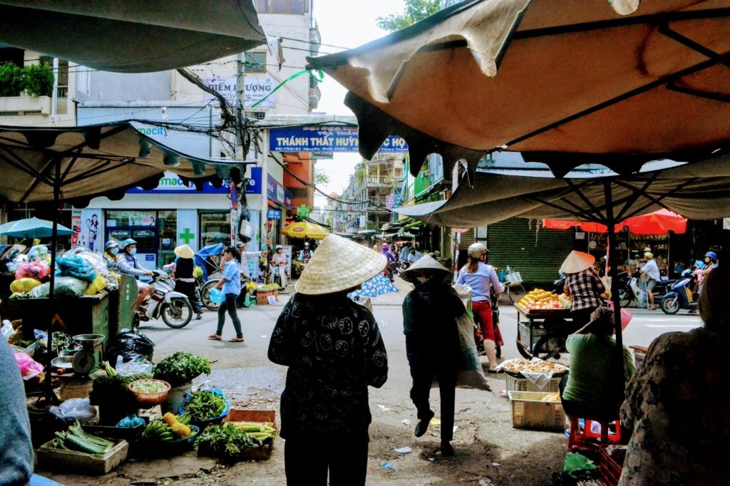 Walking through a local market in district 3 Ho Chi Minh city