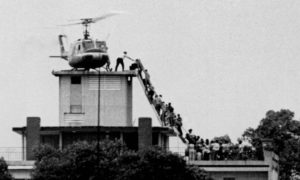 Touring a historic building significant to the Fall of Saigon 1975
