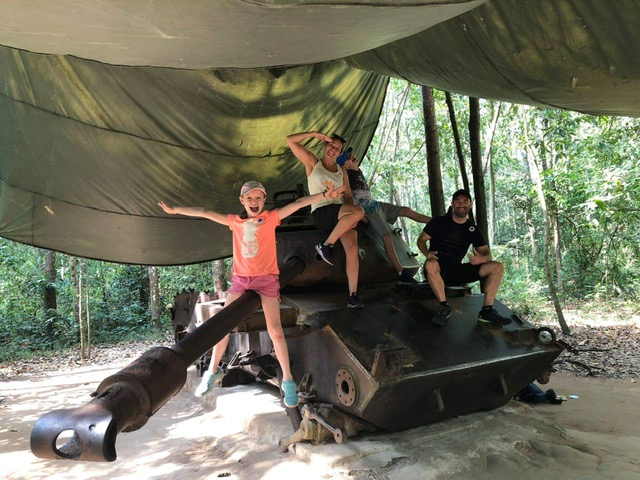 Cuchi Tunnel Tour for a happy family with Xinchao Private Vietnam Tours