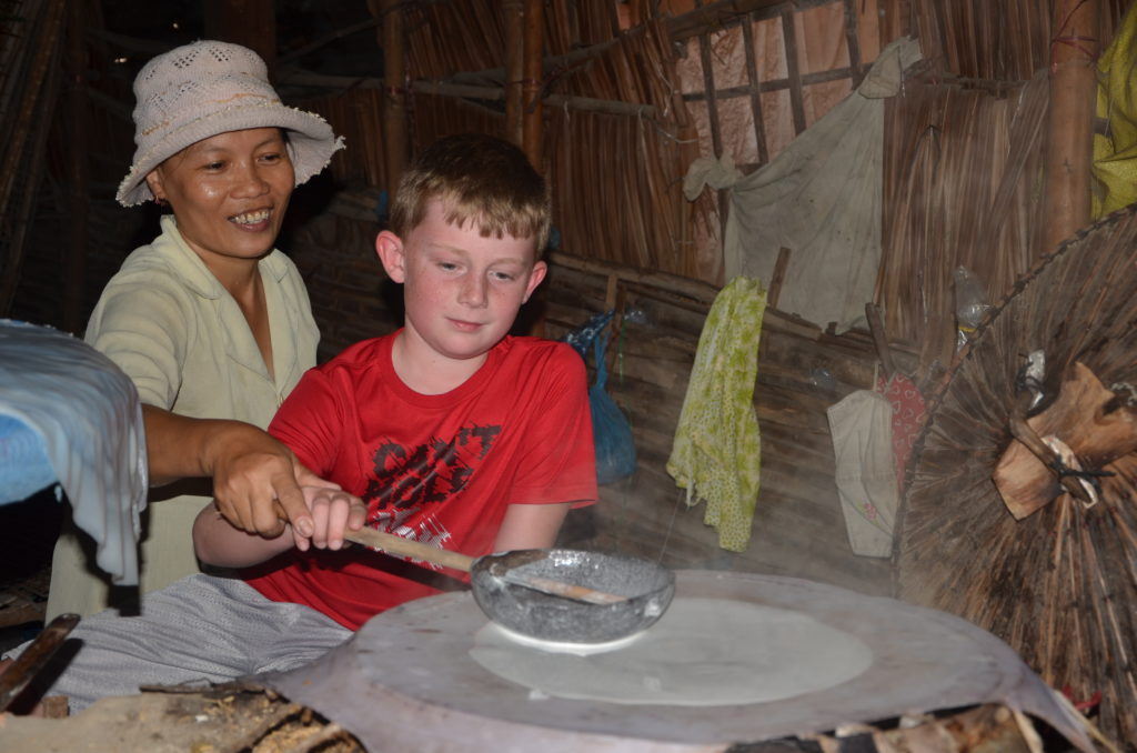 Learning to make rice paper in Mekong delta - Xin Chao Private Vietnam Tours